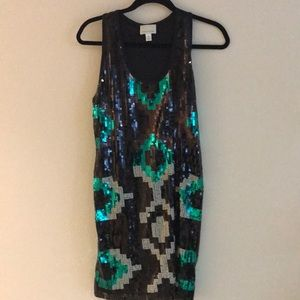 Aztec Print Sequin Cocktail Dresss